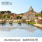 travel to italy. view at st.... | Shutterstock .eps vector #668542678