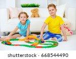 happy joyful children playing... | Shutterstock . vector #668544490