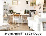 vintage scandi room with white... | Shutterstock . vector #668547298