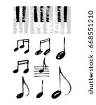 vector set of hand drawn music... | Shutterstock .eps vector #668551210