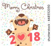 merry christmas 2018 card with... | Shutterstock .eps vector #668552050