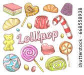 candy and lollipops hand drawn... | Shutterstock .eps vector #668558938