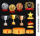 award trophies vector set.... | Shutterstock .eps vector #668559733