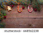 christmas tree branch  candy... | Shutterstock . vector #668562238