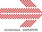 sideways. dotted sign. arrow... | Shutterstock .eps vector #668569930