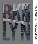 photo print brooklyn bridge... | Shutterstock . vector #668571763