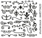 set of flourishes calligraphic... | Shutterstock .eps vector #668573620