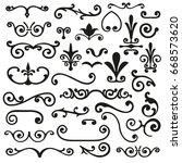 set of flourishes calligraphic... | Shutterstock .eps vector #668573620