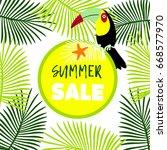 summer palm parrot template  | Shutterstock .eps vector #668577970