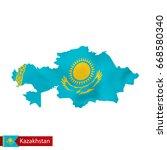 kazakhstan map with waving flag ... | Shutterstock .eps vector #668580340