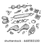 arabic food  halal meat  doner... | Shutterstock .eps vector #668583100