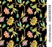 Stock photo seamless floral pattern medieval background watercolor hand painted illustration colorful 668588338