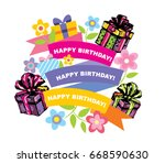 happy birthday card  balloons... | Shutterstock .eps vector #668590630