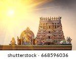 detail work in gopuram  hindu... | Shutterstock . vector #668596036