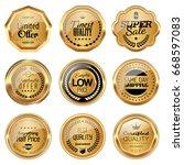 set of golden badges | Shutterstock .eps vector #668597083