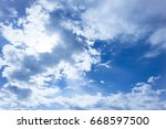 blue sky with cloudy and sun... | Shutterstock . vector #668597500