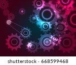 futuristic colorful cogwheels... | Shutterstock .eps vector #668599468