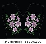 embroidery stitches with violet ... | Shutterstock .eps vector #668601100