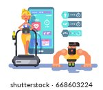 ffitness app man and woman... | Shutterstock .eps vector #668603224