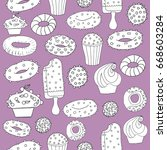 seamless pattern with sweet... | Shutterstock .eps vector #668603284
