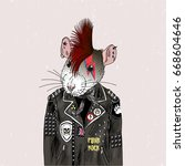 rat punk  furry art... | Shutterstock .eps vector #668604646