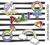 pride patch design ... | Shutterstock .eps vector #668616700