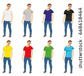 set of colored t shirts... | Shutterstock . vector #668618464