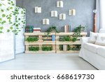 bright modern living room with... | Shutterstock . vector #668619730