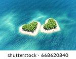 heart shaped tropical island in ... | Shutterstock . vector #668620840