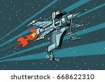 star working space ship of... | Shutterstock .eps vector #668622310