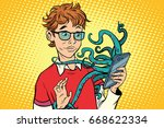 teen and octopus in the... | Shutterstock .eps vector #668622334