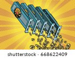video card pours cryptocurrency ... | Shutterstock .eps vector #668622409