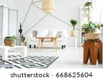 white pallet table with small... | Shutterstock . vector #668625604