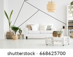 cozy living room with furniture ... | Shutterstock . vector #668625700
