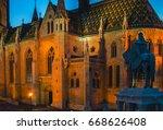 fisherman's bastion at night ... | Shutterstock . vector #668626408