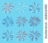 vector set of nine fireworks in ... | Shutterstock .eps vector #668626480