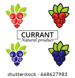cartoon currant set label | Shutterstock .eps vector #668627983