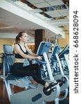 beautiful fit woman exercising... | Shutterstock . vector #668628094