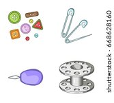buttons  pins  coil and thread... | Shutterstock . vector #668628160