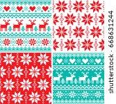 winter pattern set  christmas... | Shutterstock .eps vector #668631244