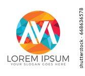 creative letter m logo  letter... | Shutterstock .eps vector #668636578