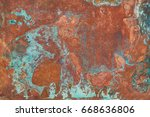 aged copper plate texture with... | Shutterstock . vector #668636806