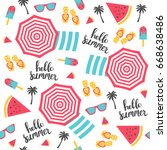 Summer Pattern. Beach Umbrella...