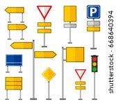 road symbols traffic signs... | Shutterstock .eps vector #668640394