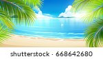 tropical island with palm trees.... | Shutterstock .eps vector #668642680
