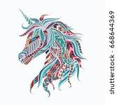 colorful tribal unicorn for...   Shutterstock .eps vector #668644369