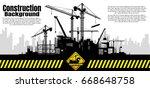 construction crane silhouette...   Shutterstock .eps vector #668648758