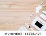 flat lay with various digital... | Shutterstock . vector #668651404