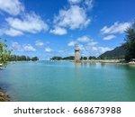 lighthouse at langkawi island... | Shutterstock . vector #668673988