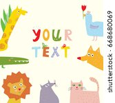 animals background with funny... | Shutterstock .eps vector #668680069
